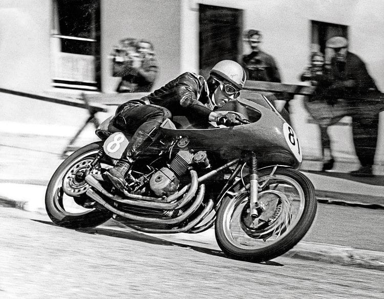 John Surtees in action on the four-cylinder MV Agusta at the TT.